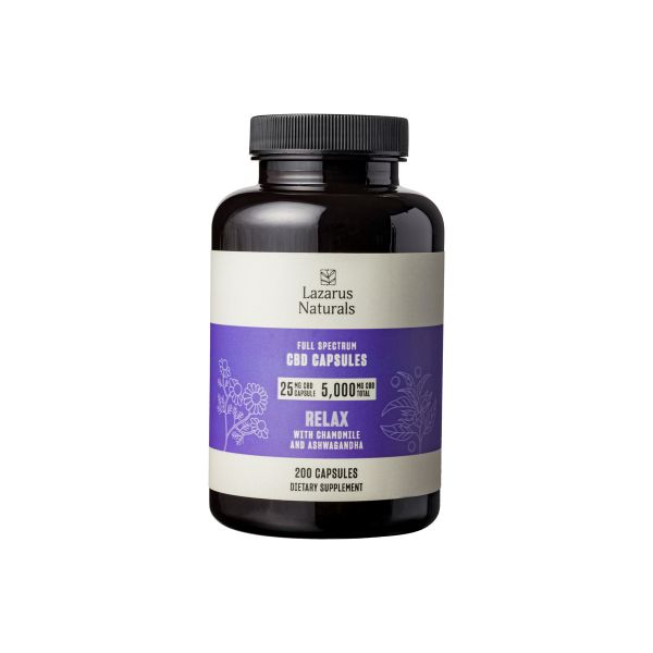 full spectrum CBD Relax capsules for anxiety and stress 25mg cbd