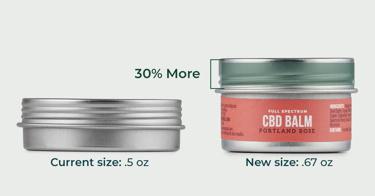 New balm tins are bigger, easier to use with more CBD.