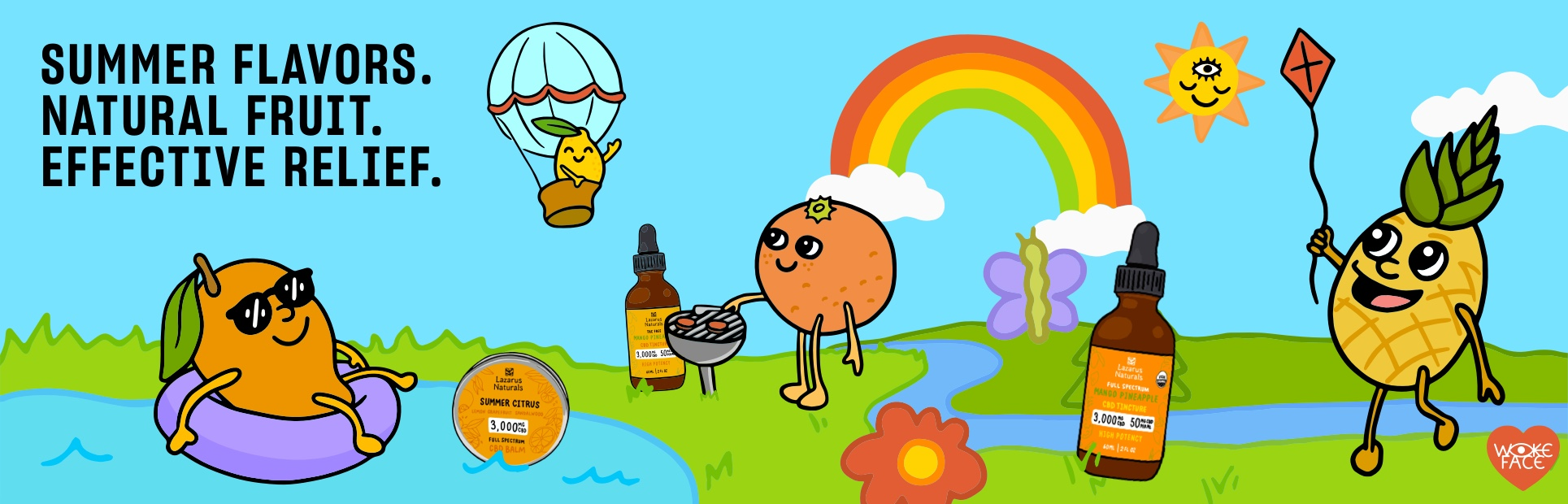 Summer flavors. Natural fruit. Effective relief. Lazarus Naturals CBD summer collection. Illustration of fruits having a summer picnic.